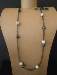 Collier avec fil en résille noir